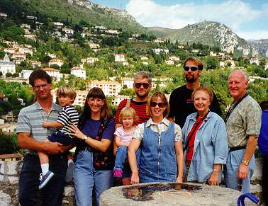 My Family: Scott, Jason, Margie, Jillian, David, Laurie, Me, Mom and dad in the South of France