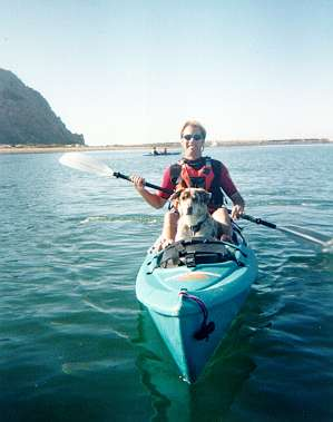 Kayaking in Morro Bay with Samie onboard